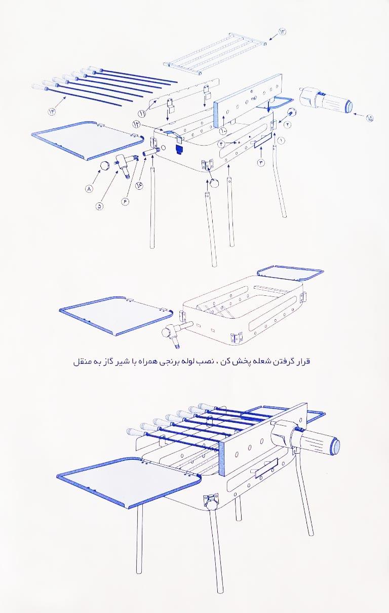 راهنمای مونتاژ کباب پز پلین